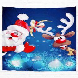 Tapiz con la imagen de Santa Claus y Reno Rudolf