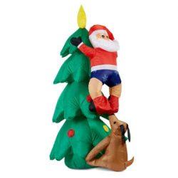 Figura de Santa Claus con árbol inflable