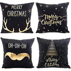 Cojines Navidad, negro y oro