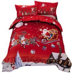 Ropa de cama roja Santa Claus