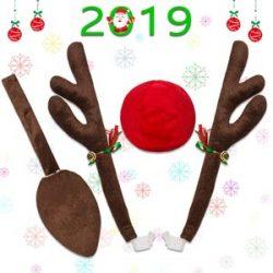 Minetom Cuernos de Reno para Coche Reno de Navidad para Coche Kit de Decoración
