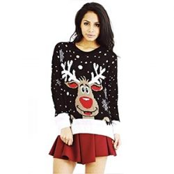 Mujer punto Navidad Rudolf