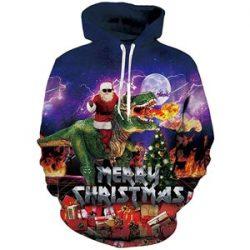 Sudadera de Santa Claus en dinosaurio