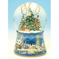 Spieluhrenwelt 48083 - Figura decorativa de bola de nieve con árboles