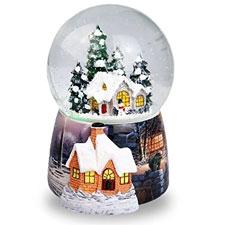 Navidad casa en la nieve bola de cristal caja de música giratorio