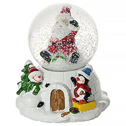 Globo de nieve navideña con música decorada con figuras de Papá Noel