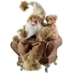 WeRChristmas Papá Noel, Figura de Papá Noel en su sillón de Navidad. 28 cm
