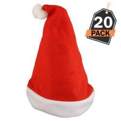 20 Sombreros de Santa Claus - Gorros Rojos de Papá Noel para Celebración de Navidad
