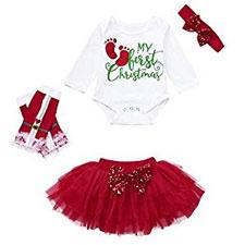 Ropa Bebe Niña Navidad Fossen 3pcs / Conjunto my First Christmas