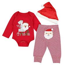 Niño Navidad Bebe Ropa Disfraz Traje de Manga Larga Conjunto Bebe