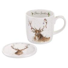 Wrendale por Royal Worcester Taza y Posavasos de Papá Noel, diseño de Ciervo