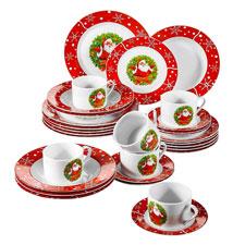 VEWEET, Serie SANTACLAUS, 30 Piezas vajillas de Porcelana, 6 Tazas 6 platillos