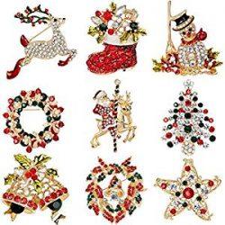 Elegant Rose Navidad broche Pin 9 colores brillantes