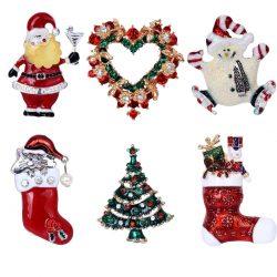 6 Broches de Navidad multicolor