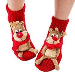 Calcetines rojos antideslizantes con renos