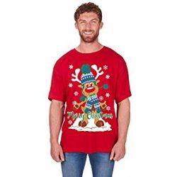 Camiseta roja con reno de Santa Claus