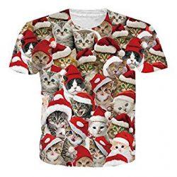 Camiseta de Santa Claus con gatitos