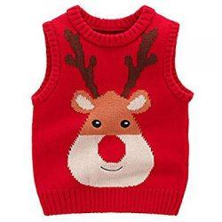 Chaleco rojo con reno de Santa Claus