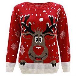 Jersey rojo de punto con reno de Santa Claus