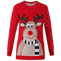 Jersey rojo largo con reno de Santa Claus