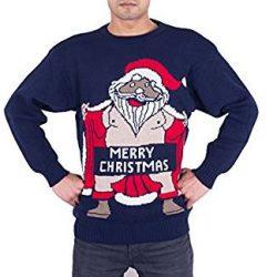 Jersey de punto azul con la imagen de Santa Claus desnudo