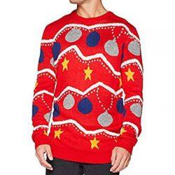 Jersey rojo Cárdigan con bolas de Navidad