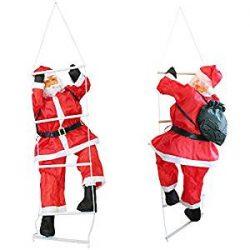 Adorno de Santa Claus subiendo por una escalera