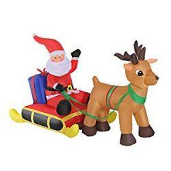 Hinchable de Santa Claus con trineo y reno