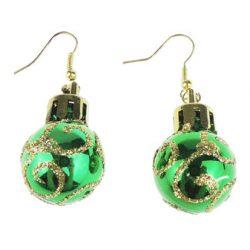 Pendientes, bola de navidad verdes