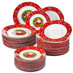 Juego de platos con adornos de Santa Claus
